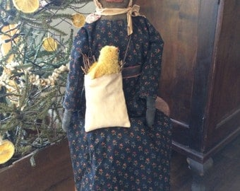 Primitive Folk Art Doll Maggie and Chick in a Bag