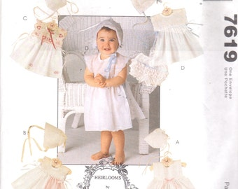 McCalls 7619 Infants Heirloom Dress Bonnet and Panties Pattern - You Can Use Handkerchiefs - Small  Medium Large X Large UNCUT