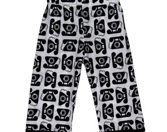 Telephone - Black And White - Black Pants - Minimalist Baby - Retro Baby - Baby Pants - Baby Boy Pants - Baby Girl Pants - Nb to 18m
