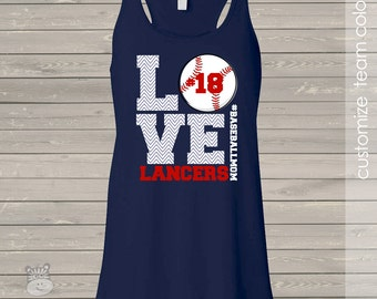 Baseball mom love DARK flowy tank top - great gift for birthday or Mother's Day