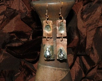 Copper Earrings with Sterling Silver and Elongated Freshwater Pearls