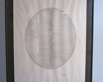 Vintage Oval Lines Wall Art - Signed - Wall Hanging - Framed