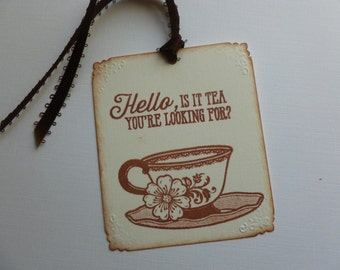 Tea party tags bridal shower baby shower hand stamped tea cup Hello, is it tea you're looking for? vintage style - set of 8