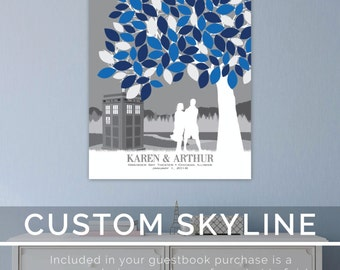 Wedding Guestbook Doctor Who Wedding, Wedding Tree Guestbook, Alternative Wedding Guestbook // Choose Art Print or Canvas // W-T05-1PS HH3