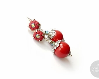 Dangle earrings red pearly beads, clay, silvery / Red Winter - sous la mansarde®, classical spirit, elegant, ethnic, handsculpted, designer
