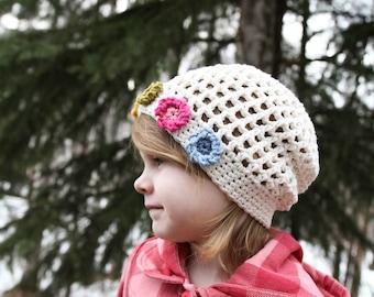 Crochet Hat Pattern - Summer's Flower Girl Hat