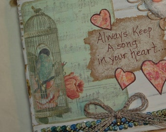 Keep a Song in your Heart -  Bird quote/verse art -5x5 COLLAGED art -  upcycled wood block with collage art
