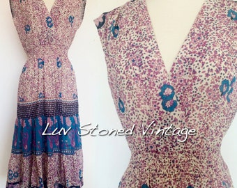 70s Vintage On the Rocks Cotton Gauze Boho Hippie Ethnic Festival Midi Dress D224 . XS-SM . 1229.9.21.16