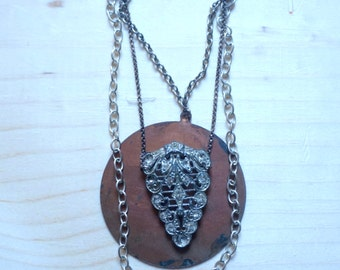 sylvia's rhinestone arrowhead: art nouveau era pendant and statement necklace