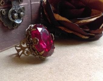 Large Victorian filigree and swarovski crystal ring