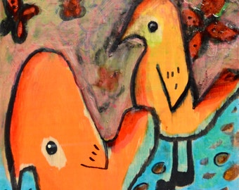 OOAK Just Being Birds on Birch Cradleboard