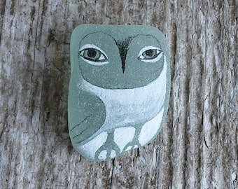 Green Beach Glass Owl