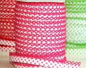 Double fold crochet edge bias tape, crochet bias tape, lace bias tape, white and pink bias tape, polka dot bias tape, bias binding