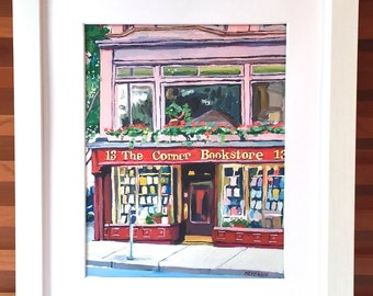 NYC Bookstore Book Store Book Lover New York Art Corner Bookstore 8x10 Fine Art Print, Gift for Reader,  Painting by Gwen Meyerson