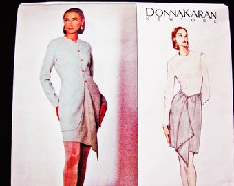 VOGUE Jacket, Wrap Skirt Pattern Donna Karan Vogue American Designer Suit Pattern Size 12 14 16 UNCUT 1990s Womens Sewing Patterns