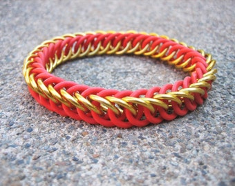 Gryffindor Red & Gold Harry Potter Themed Stretchy Chainmaille Bracelet - Half-Persian 4-in-1 Weave