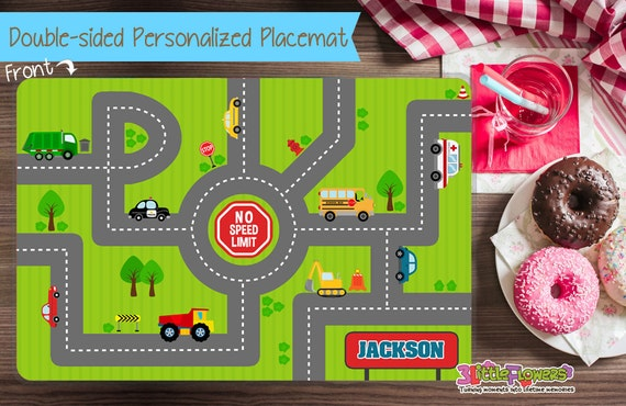 road placemat personalized placemat for kids laminated custom