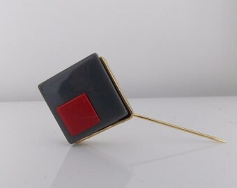 European art deco Modernist lucite Stick Hat Pin,1930s 1940s geometric coat pin