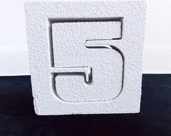 1970s Modernist block number 5 sculpture / 70s advertising object/ Pop Art statue