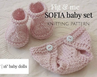 PDF Knitting Pattern, Doll Clothing, Baby Doll Clothes, Waldorf Style Doll clothing patterns, Diaper and Boots, Sofia Baby Set by Fig and Me