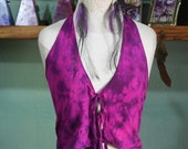 Hand dyed Bright Hot Pink & Purple summer halter tie up top...