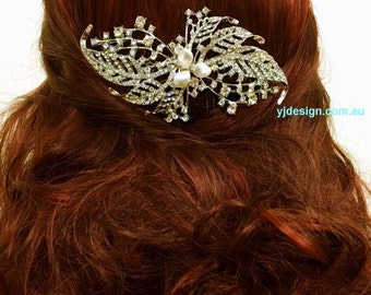 Spiral Bridal Hair Comb, Statement Wedding Headpiece, Spiral Wedding Hair Comb, Crystal Bridal Headpiece, Silver Bridal Hair Jewelry, MADAME
