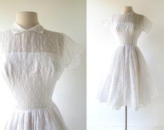 1950s White Dress / Dreamland / Floral Embroidered Dress / 50s Dress / XXXS XXS