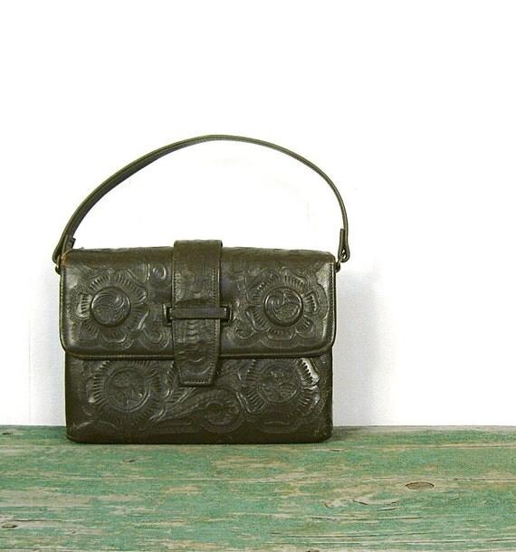 Tooled Leather Bag / Olive Green Purse / Tooled Leather Purse / Boho Purse