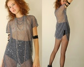 Vintage 90s Charcoal Gray Sheer Draped Oversized Indie Boho Netted Top (one size)