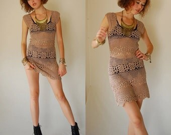 Crochet Mini Dress Vintage 70s Tan See Through Crochet Body Con Mini Dress (s)