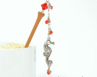 Seahorse Hair Stick, Beach Hair Jewelry, Seahorse Geisha Hairstick, Red Hair Stick, Geisha Hair Pin, Charm Hair Pick, Red Hair Beads