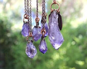 Amethyst Necklace Amethyst Pendant Raw Amethyst Necklace Amethyst Crystal Necklace Raw Crystal Necklace Bohemian Jewelry Gemstone Jewelry