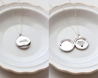 Personalized Locket Necklace - MEDIUM Engraved Locket Necklace Bridesmaid Gift Personalized Locket Gift Custom Locket Necklace Personalized