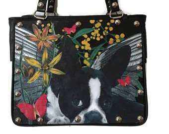 Boston Terrier Pup  Custom Collage Leather Handbag