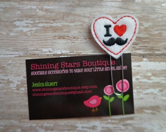 """Embellished Felt Planner Clips - Red, Black, And White """"I Heart Mustaches"""" Felt Paper Clip Or Bookmark - Valentine Accessories"""