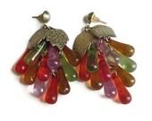 RESERVED for Lena Metlyakova - Fruit Juice Lucite Dangle Earrings Vintage Carmen Miranda Style