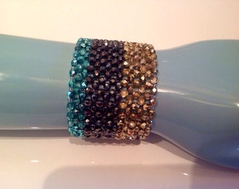 Glamorous Fire Polish Czech Crystal woven cuff bracelet. Stripes pattern/ sterling silver magnetic clasp.