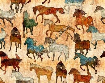 "Quilting Treasures & Dan Morris ""Unbridled"" #24691-S Horses  Cotton Fabric Priced Per 1/2 Yd."