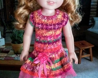 Rainbow-Colored Crocheted Dress for Wellie Wishers Dolls