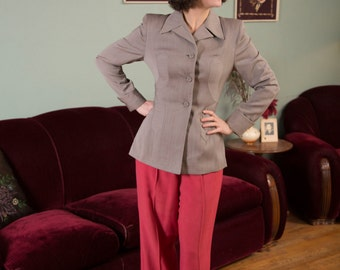 Vintage 1940s Jacket - Gorgeous Heathered Grey Wool Gabardine 40s Jacket with Accented Waist, Strong Shoulders and Large Collar