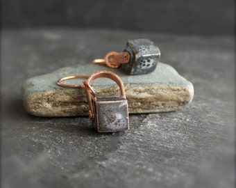 Grey Spotted Ceramic Cube Arch Earrings - Peach Copper, Riveted Dangle, Metalwork Jewellery
