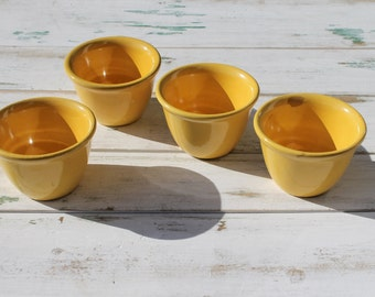 Vintage Pottery Custard Cups, Farmhouse Kitchen Decor, Yellowware Pottery Cups