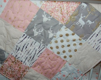 baby quilt- baby girl quilt-minky baby quilt- elk baby quilt- pink and gray baby quilt- baby bedding- feathers baby quilt- gold baby bedding