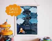 SALE 2016 calendar, wall hanging calendar one page fabric calendar with sky & stars