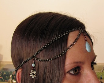 Amazonite Teardrop Head Chain ~ Boho Gem Power Headdress ~ Renaissance Hair Chain ~ Aqua Blue Bridal Headpiece