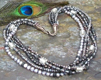 Silver Freshwater Pearl Torsade Necklace ~ Lilac Blue Pearls with Hematite and Foil-Lined Glass ~ Sterling Silver