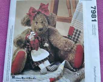 McCall's 7981 - Gracie Teddy Bear and Her Doll, Annie - Rag Doll - Primitive, Country, Shabby Chic - Antique / Vintage Look Pattern - UNCUT