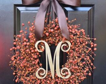 Thanksgiving Wreath- Fall Wreath- Pumpkin Berry Wreath- Ready to Ship Fall Wreath- Autumn Decoration- Orange Berries-