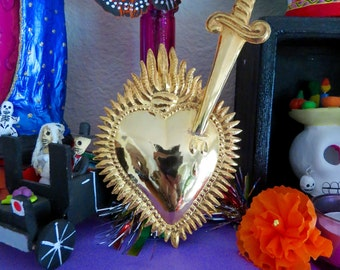 "Vintage Ex Voto 7 6/8"" SACRED HEART Gold Dagger Religious Milagro - Perfect for the one you love-41g"