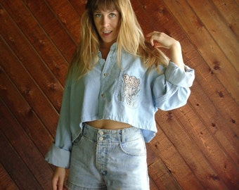 Vtg Denim Rhinestone Oversized Crop Top Shirt - 90s - L/XL